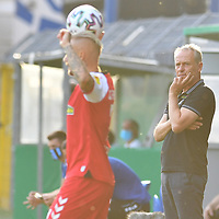 13.09.2020, Carl-Benz-Stadion, Mannheim, GER, DFB-Pokal, 1. Runde, SV Waldhof Mannheim vs. SC Freiburg, <br /> <br /> DFL REGULATIONS PROHIBIT ANY USE OF PHOTOGRAPHS AS IMAGE SEQUENCES AND/OR QUASI-VIDEO.<br /> <br /> im Bild: Christian Streich (Trainer, SC Freiburg)<br /> <br /> Foto © nordphoto / Fabisch