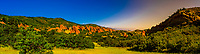 Panoramic view, Red sandstone formations, Roxborough State Park, near Littleton, Colorado USA.