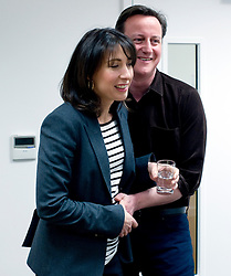 Leader of the Conservative Party David Cameron with his wife Samantha before he makes his speech at a rally at the Milton Keynes Academy, Saturday March 27, 2010.  Photo By Andrew Parsons / i-Images.