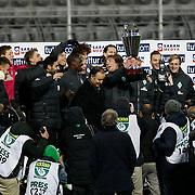 Werder Bremen's players celebrates with the lift the TUTTUR CUP trophy during their Tuttur Cup Final soccer match Werder Bremen between Werder Bremen v Vfl Wolfsburg at Mardan stadium in Antalya Turkey on 09 Wednesday January, 2013. Photo by Aykut AKICI/TURKPIX