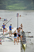 Chungju, South Korea. 2013 FISA World Rowing Championships, NED W8+, boating and General Views of signage round the Tangeum Lake International Regatta Course. 08:56:12  Saturday  24/08/2013 [Mandatory Credit. Peter Spurrier/Intersport Images]