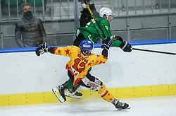 Olivero Simone of Asiago vs Stebih Mih of HK SZ Olimpija during first leg Ice Hockey game between HK SZ Olimpija Ljubljana and Asiago Hockey in Final of Alps Hockey League 2020/21, on April 20, 2021 in Hala Tivoli, Ljubljana, Slovenia. Photo by Vid Ponikvar / Sportida