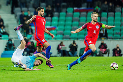 Benjamin Verbic of Slovenia and Kyle Walker of England with Jordan Henderson of England during football match between National teams of Slovenia and England in Round #3 of FIFA World Cup Russia 2018 qualifications in Group F, on October 11, 2016 in SRC Stozice, Ljubljana, Slovenia. Photo by Grega Valancic / Sportida