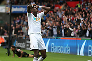 Tammy Abraham of Swansea city reacts after missing a chance to score. Premier league match, Swansea city v Newcastle Utd at the Liberty Stadium in Swansea, South Wales on Sunday 10th September 2017.<br /> pic by  Andrew Orchard, Andrew Orchard sports photography.