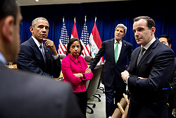 President Barack Obama meets with advisors prior to a  bilateral meeting with Prime Minister Haider al-Abadi of Iraq at the United Nations in New York, N.Y., Sept. 24, 2014. With the President from left are: Phil Gordon, White House Coordinator for Middle East, North Africa and the Gulf Region; National Security Advisor Susan E. Rice; Secretary of State John Kerry; Brett McGurk, Deputy Secretary of State and Deputy Special Presidential Envoy; and Andy Kim, Director for Iraq. (Official White House Photo by Pete Souza)<br /> <br /> This official White House photograph is being made available only for publication by news organizations and/or for personal use printing by the subject(s) of the photograph. The photograph may not be manipulated in any way and may not be used in commercial or political materials, advertisements, emails, products, promotions that in any way suggests approval or endorsement of the President, the First Family, or the White House.