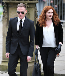 © Licensed to London News Pictures . 18/03/2016 . Manchester , UK . Antony Cotton and  Jennie McAlpine arrive at the service. Television stars and members of the public attend the funeral of Coronation Street creator Tony Warren at Manchester Cathedral . Photo credit : Joel Goodman/LNP
