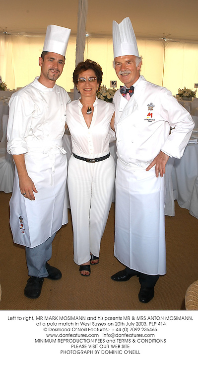 Left to right, MR MARK MOSIMANN and his parents MR & MRS ANTON MOSIMANN, at a polo match in West Sussex on 20th July 2003.PLP 414
