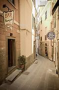 Quiet street in Corniglia, Cinque Terre, Liguria, Italy