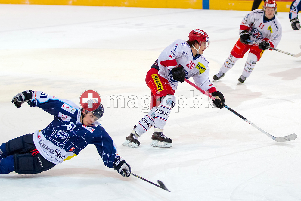 Rapperswil-Jona Lakers defenseman Janis Egger (C) against HC Ambri-Piotta forward Anthony Neuenschwander during the fifth and final Elite A /B league qualification ice hockey game between HC Ambri-Piotta and Rapperswil-Jona Lakers in Ambri, Switzerland, Saturday, March 31, 2018. (Photo by Patrick B. Kraemer / MAGICPBK)