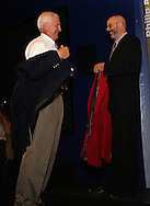28 August 2006: Al Trost (l) is presented with his Hall of Fame jacket by HOF president Will Lunn during his induction. The National Soccer Hall of Fame Induction Ceremony was held at the National Soccer Hall of Fame in Oneonta, New York.