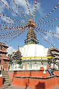 Asia, Nepal, Buddhist prayerflags on a Stupa