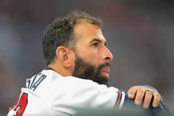 May 15, 2018 - Atlanta, GA, U.S. - ATLANTA, GA Ð MAY 15:  Braves infielder Jose Bautista (23) looks on from the dugout during the game between Atlanta and Chicago on May 15th, 2018 at SunTrust Park in Atlanta, GA. The Chicago Cubs defeated the Atlanta Braves by a score of 3 -2.  (Photo by Rich von Biberstein/Icon Sportswire) (Credit Image: © Rich Von Biberstein/Icon SMI via ZUMA Press)