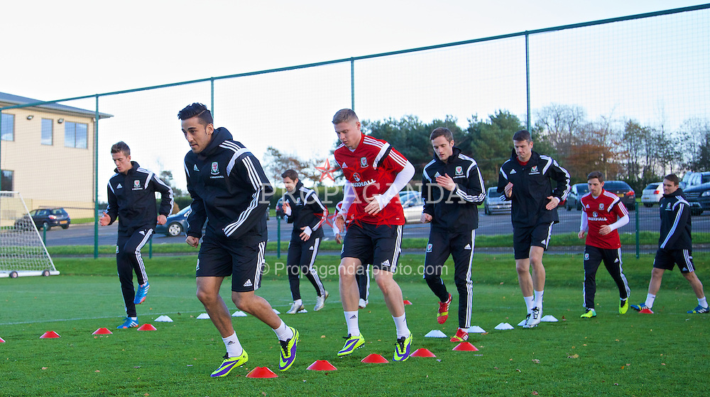 CARDIFF, WALES - Thursday, November 14, 2013: Wales' Neil Taylor during a training session at the Vale of Glamorgan ahead of the international friendly match against Finland. (Pic by David Rawcliffe/Propaganda)