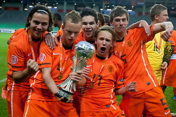 Thom Haye of Netherlands, Wouter Marinus of Netherlands and Joris Voest of Netherlands celebrate during trophy ceremony after winning the UEFA European Under-17 Championship Final match between Germany and Netherlands on May 16, 2012 in SRC Stozice, Ljubljana, Slovenia. Netherlands defeated Germany after penalty shots and became European Under-17 Champion 2012. (Photo by Urban Urbanc / Sportida.com)