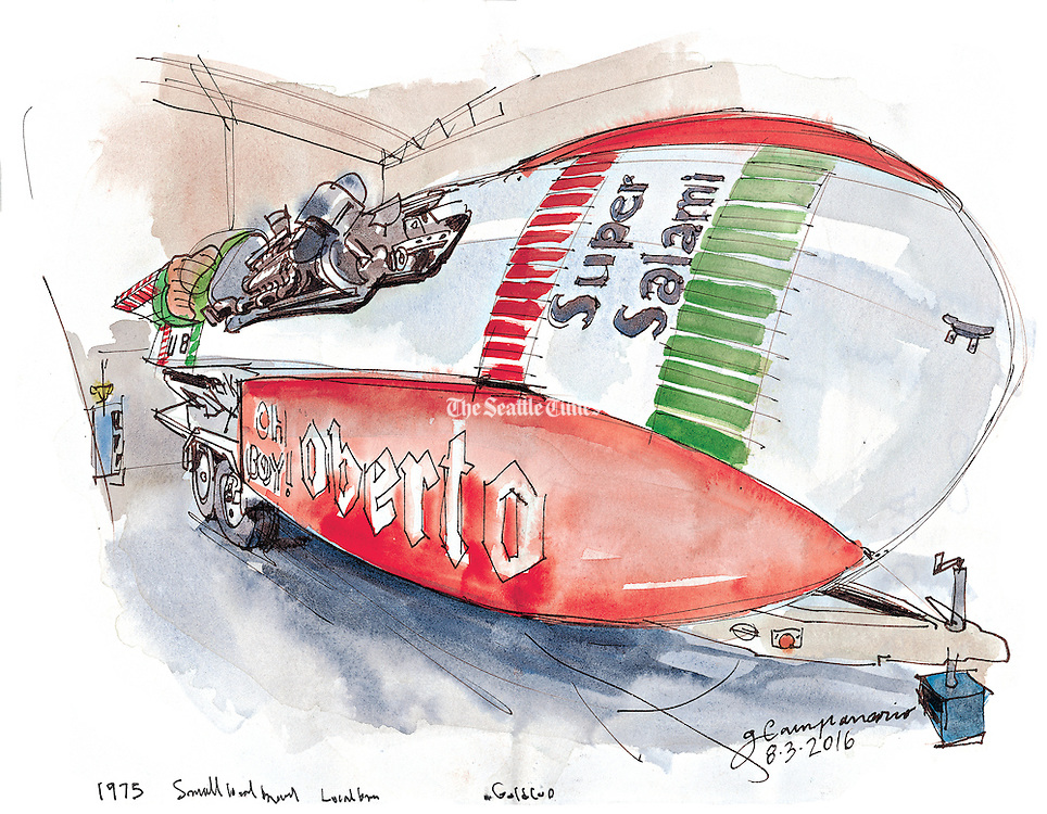 The historic 1975 Oh Boy! Oberto, was first hydroplane to be sponsored by the local brand. (Gabriel Campanario / The Seattle Times)