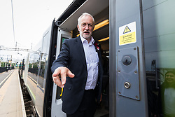 June 7, 2017 - London, London - London, UK. JEREMY CORBYN stands for a photograph as he boards a train at Watford Junction after speaking to Labour supporters at a rally in Watford the day before Britain heads to the polls for the General Election. (Credit Image: © Rob Pinney/London News Pictures via ZUMA Wire)
