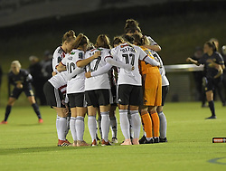 February 20, 2019 - Sheffield, United Kingdom - Sheffield United psyche themselves up for the second half of the match during the  FA Women's Championship football match between Sheffield United Women and Manchester United Women at the Olympic Legacy Stadium, on February 20th Sheffield, England. (Credit Image: © Action Foto Sport/NurPhoto via ZUMA Press)