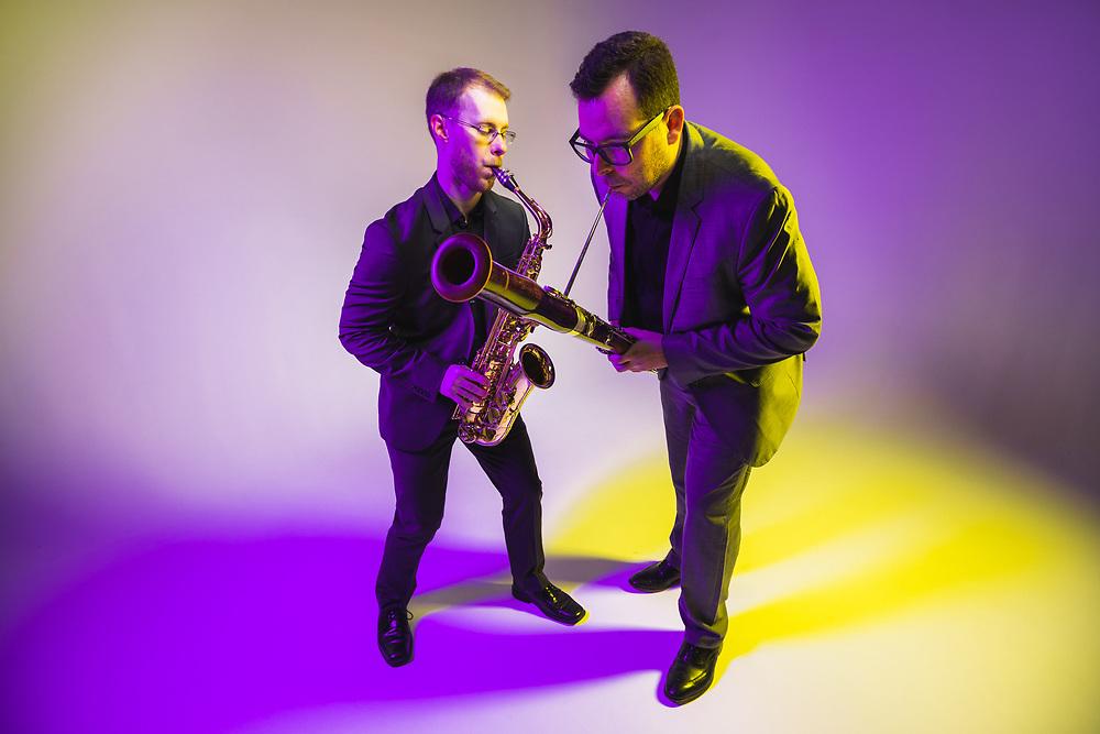Javier Rodriguez and Sean Fredenburg aka Post-Haste Reed Duo, December 2018. Photo by Jason Quigley