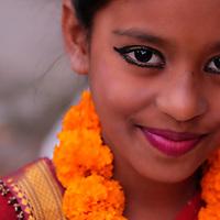 Sita Sharan is made up for her part in the Ramayana at Sri Ram Ashram orphanage.<br /> Photo by Shmuel Thaler <br /> shmuel_thaler@yahoo.com www.shmuelthaler.com