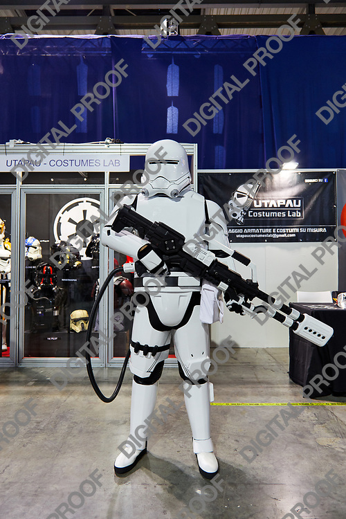 Milan, Italy - March 8 2019 Cartoomics Comic Con Cosplay of a Storm Tropper from Star Wars movie