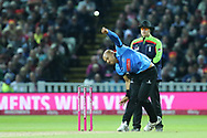 Sussex's Tymal Mills during the final of the Vitality T20 Finals Day 2018 match between Worcestershire rapids and Sussex Sharks at Edgbaston, Birmingham, United Kingdom on 15 September 2018.