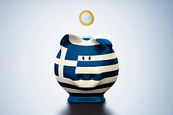 Euro coin above Greek flag piggy bank (Credit Image: © Image Source/Bjoern Holland/Image Source/ZUMAPRESS.com)