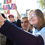 Mayor of London,Sadiq Khan join Thousands assembly at Park lane march to Parliament Square.  March for the Future - People's Vote and March for a Final Say - Brexit Deal Referendum Campaign on 20 October 2018.