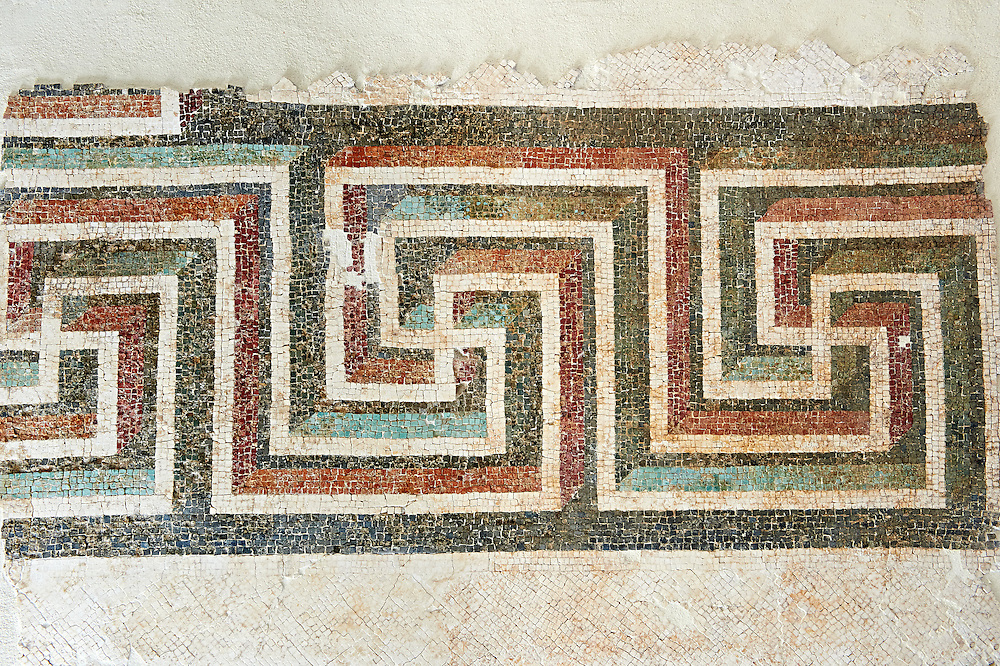 Roman geometric floor mosaic with swastikas. From the Roman villa near Botte, Rome. 1st century BC . National Roman Museum, Rome, Italy .<br /> <br /> If you prefer to buy from our ALAMY PHOTO LIBRARY  Collection visit : https://www.alamy.com/portfolio/paul-williams-funkystock/national-roman-museum-rome-mosaic.html <br /> <br /> Visit our ROMAN ART & HISTORIC SITES PHOTO COLLECTIONS for more photos to download or buy as wall art prints https://funkystock.photoshelter.com/gallery-collection/The-Romans-Art-Artefacts-Antiquities-Historic-Sites-Pictures-Images/C0000r2uLJJo9_s0