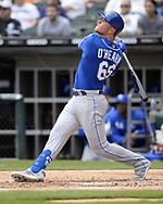 CHICAGO - APRIL 17:  Ryan O'Hearn #66 of the Kansas City Royals bats against the Chicago White Sox on April 17, 2019 at Guaranteed Rate Field in Chicago, Illinois.  (Photo by Ron Vesely)  Subject:   Ryan O'Hearn