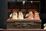 Shoes in man's fashion shop in Huidenstraat in the Nine Streets shopping district, Amsterdam