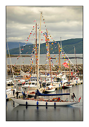 Day five of the Fife Regatta, lay day in Portavadie<br /> <br /> The boats dressed overall for Kentra and Astor in Portavadie Marina<br /> <br /> Sonata, Patrick  Caiger-Smith, GBR, Bermudan Sloop, Wm Fife 3rd, 1950<br /> <br /> * The William Fife designed Yachts return to the birthplace of these historic yachts, the Scotland's pre-eminent yacht designer and builder for the 4th Fife Regatta on the Clyde 28th June–5th July 2013<br /> <br /> More information is available on the website: www.fiferegatta.com