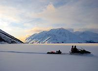 An afternoon snowmobile ride on Kathleen Lake, Yukon