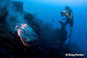"""videographer Shane Turpin, films pillow lava at underwater eruption of Kilauea Volcano, Hawaii Island <br /> ("""" the Big Island """"), Hawaii, U.S.A. ( Central Pacific Ocean ) <br /> MR 382"""