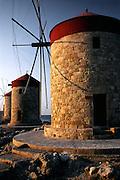 Greece, Rhodes, New Town, Mandraki Harbor, Windmills