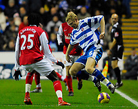 Photo: Leigh Quinnell/Sportsbeat Images.<br /> Reading v Arsenal. The FA Barclays Premiership. 12/11/2007. Readings Brynjar Gunnarsson jumps to keep the ball in play.