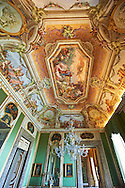 The Room of Summer - Frescoes on the vaulted ceiling depict the myth of Proserpine who, during the summer, rises from the dead to her mother Ceres, painted by Fedele Fischetti. Above the doors paintings by Giovan Battista de Rossi depict the Allegories of the liberal arts alternated with representations of the Rivers of the Kingdom of Naples. The Kings of Naples Royal Palace of Caserta, Italy. A UNESCO World Heritage Site .<br /> <br /> Visit our ITALY HISTORIC PLACES PHOTO COLLECTION for more   photos of Italy to download or buy as prints https://funkystock.photoshelter.com/gallery-collection/2b-Pictures-Images-of-Italy-Photos-of-Italian-Historic-Landmark-Sites/C0000qxA2zGFjd_k<br /> <br /> <br /> Visit our EARLY MODERN ERA HISTORICAL PLACES PHOTO COLLECTIONS for more photos to buy as wall art prints https://funkystock.photoshelter.com/gallery-collection/Modern-Era-Historic-Places-Art-Artefact-Antiquities-Picture-Images-of/C00002pOjgcLacqI