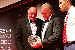 CARDIFF, WALES - Monday, October 5, 2015: Alan Curtis is presented with the FAW Long Service Award by FAW's Trefor Lloyd-Hughes during the FAW Awards Dinner at Cardiff City Hall. (Pic by David Rawcliffe/Propaganda)