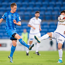 BRISBANE, AUSTRALIA - SEPTEMBER 20: Jaiden Walker and Nick Epifano of South Melbourne compete for the ball during the Westfield FFA Cup Quarter Final match between Gold Coast City and South Melbourne on September 20, 2017 in Brisbane, Australia. (Photo by Gold Coast City FC / Patrick Kearney)