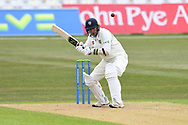 Chris Rushworth of Durham takes evasive action during the LV= Insurance County Championship match between Nottinghamshire County Cricket Club and Durham County Cricket Club at Trent Bridge, Nottingham, United Kingdom on 9 April 2021.