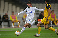 ATHENS, GREECE - OCTOBER 29: Cengiz Ünderof Leicester City and Stratos Svarnasof AEK Athens during the UEFA Europa League Group G stage match between AEK Athens and Leicester City at Athens Olympic Stadium on October 29, 2020 in Athens, Greece. (Photo by MB Media)