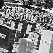The Grave stones at Sheffield Cemetery in Kansas City, Missouri.
