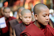 Burma/Myanmar, Amarapura. Maya Ganayon Kyaung.  Novice monks staying in a row and waiting for a midday meal.