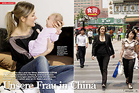 Barbara Luthi, a Swiss journalist with her baby in Beijing where she was the Swiss TV correspondent for Schweizer Illustrierte, a Swiss weekly magazine.