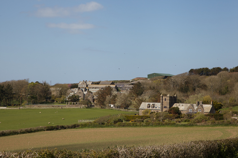 Looking towards Pickwell Manor, Georgeham, North Devon, UK. Pickwell Manor is the building in the front, center, partially covered by trees.<br /> CREDIT: Vanessa Berberian for The Wall Street Journal<br /> HOUSESHARE