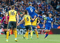 Football - 2016/2017 Premier League - Leicester Ciity V Arsenal. <br /> <br /> Jamie Vardy of Leicester City with an airborne back flick at The King Power Stadium.<br /> <br /> COLORSPORT/DANIEL BEARHAM