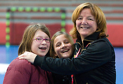 Coach of Krim Marta Bon with her daughter and her friend at handball match of Round 5 of Champions League between RK Krim Mercator and Metz Handball, France, on January 9, 2010 in Kodeljevo, Ljubljana, Slovenia. (Photo by Vid Ponikvar / Sportida)