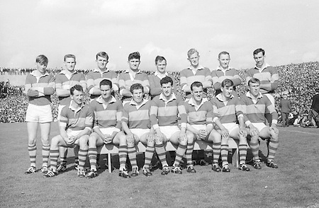 All Ireland Senior Football Championship Final, Kerry v Down, 22.09.1968, 09.22.1968, 22nd September 1968, Down 2-12 Kerry 1-13, Referee M Loftus (Mayo)..The Kerry Team,.Back row (from left) Eamon O'Donoghhue, Sean Burrows, Mick Morris, Mick O'Dwyer, Johnny Culloty, Paud O'Donoghue, D J Crowley, Mick Fleming. Front row (from left) Seamus Murphy, Mick O'Connell, Tom Prendergast, Pat Griffin (capt), Denis O'Sullivan, Brendan Lynch, Donie O'Sullivan,
