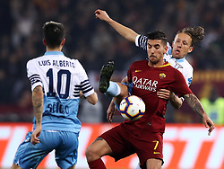 March 2, 2019 - Rome, Lazio, Italy - SS Lazio v As Roma : Serie A.Lucas Leiva of Lazio and Lorenzo Pellegrini of Roma at Olimpico Stadium in Rome, Italy on March 2, 2019. (Credit Image: © Matteo Ciambelli/NurPhoto via ZUMA Press)