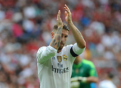 04.08.2015, Allianz Arena, Muenchen, GER, AUDI CUP, Real Madrid vs Tottenham Hotspur, im Bild Sergio Ramos (Real Madrid) // during the 2015 AUDI Cup Match between Real Madrid and Tottenham Hotspur at the Allianz Arena in Muenchen, Germany on 2015/08/04. EXPA Pictures © 2015, PhotoCredit: EXPA/ Eibner-Pressefoto/ Stuetzle<br /> <br /> *****ATTENTION - OUT of GER*****