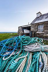 Fishing nets and cottage, Dooagh Achill Island, County Mayo, Ireland